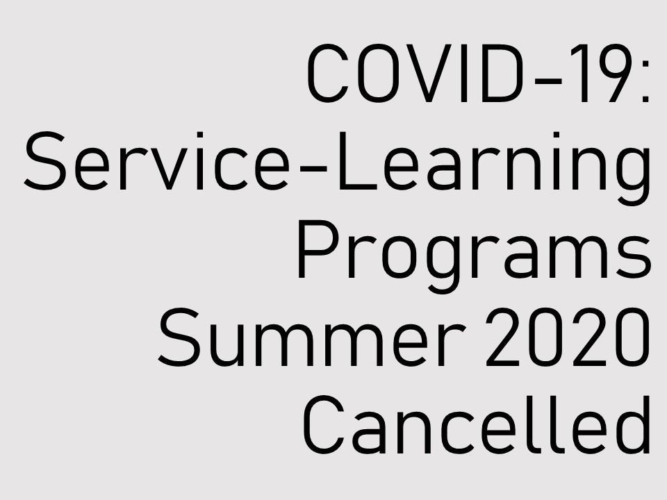 2020年夏期サービス・ラーニング・プログラム中止のお知らせ